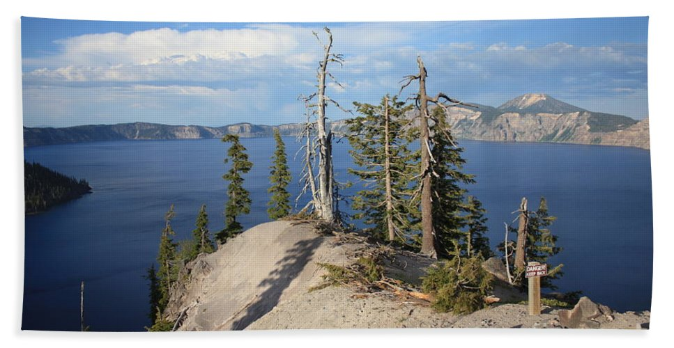 Crater Lake Bath Towel featuring the photograph Dangerous Slope At Crater Lake by Carol Groenen