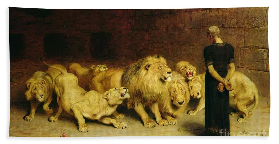 Daniel In The Lions' Den Hand Towel featuring the painting Daniel In The Lions Den by Briton Riviere