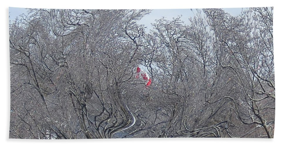 Canadian Flag Hand Towel featuring the photograph Dans Le Vent / In The Wind by Dominique Fortier
