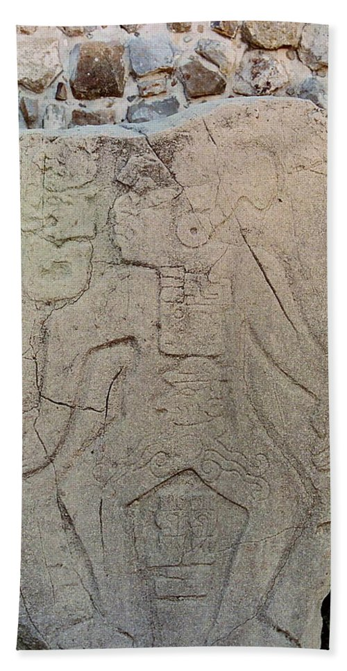 Danzantes Hand Towel featuring the photograph Danzantes Stone Carving by Michael Peychich