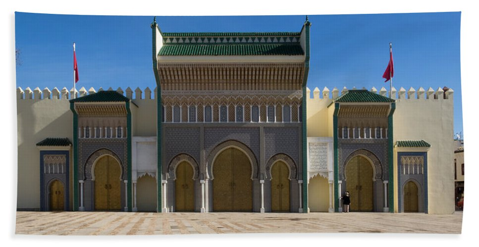 Photography Bath Sheet featuring the photograph Dar-el-makhzen The Royal Palace by Panoramic Images