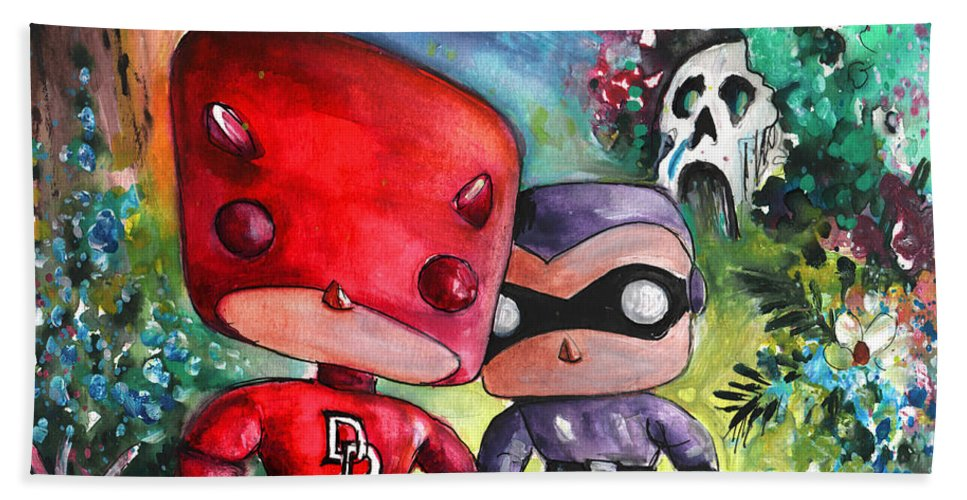 Animals Bath Sheet featuring the painting Funkos Daredevil And The Phantom In The Jungle by Miki De Goodaboom