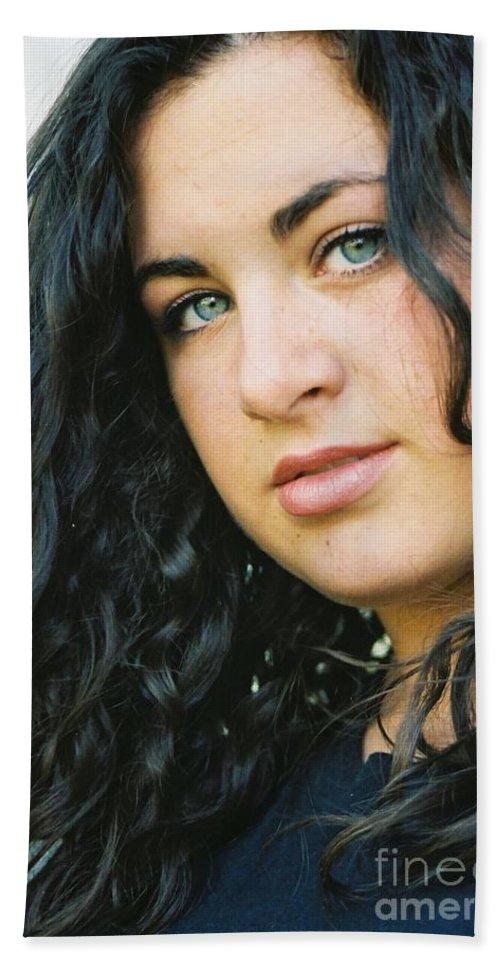 Blue Eyes Bath Sheet featuring the photograph Dark Beauty by Nadine Rippelmeyer
