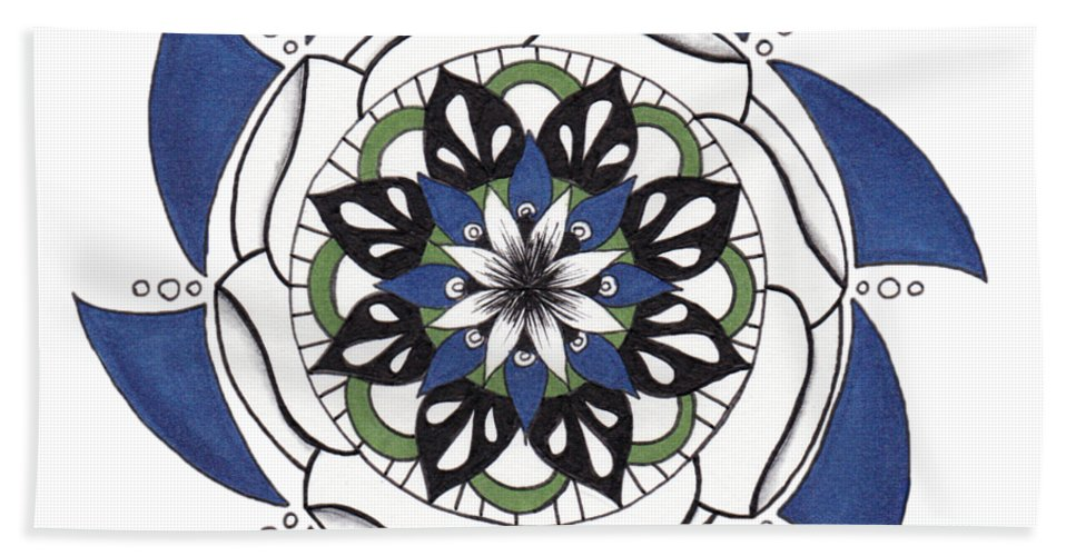 Mandala Hand Towel featuring the drawing Dark Edge by Alyssa Baird