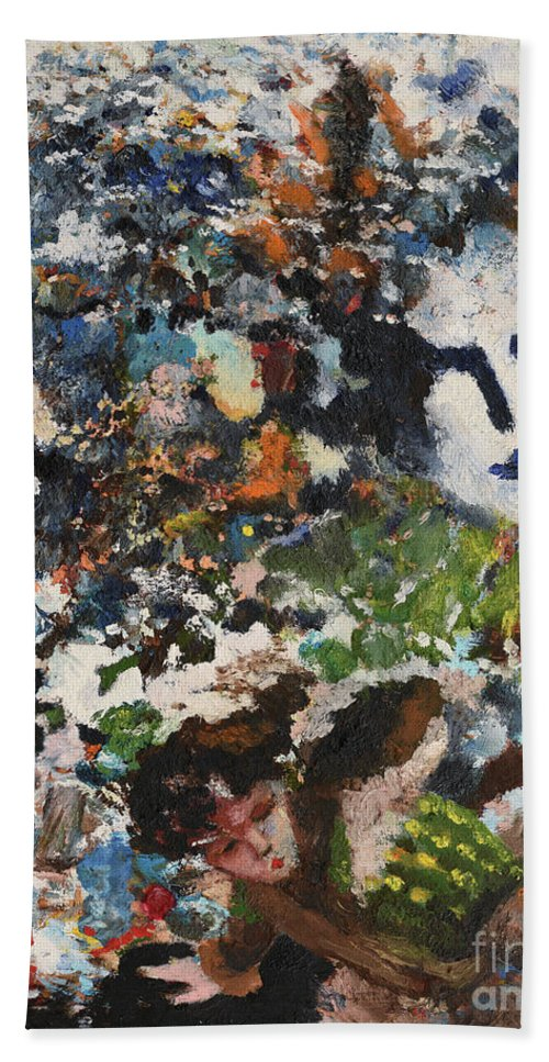 Dark Bath Sheet featuring the painting Dark History by Oleg Konin