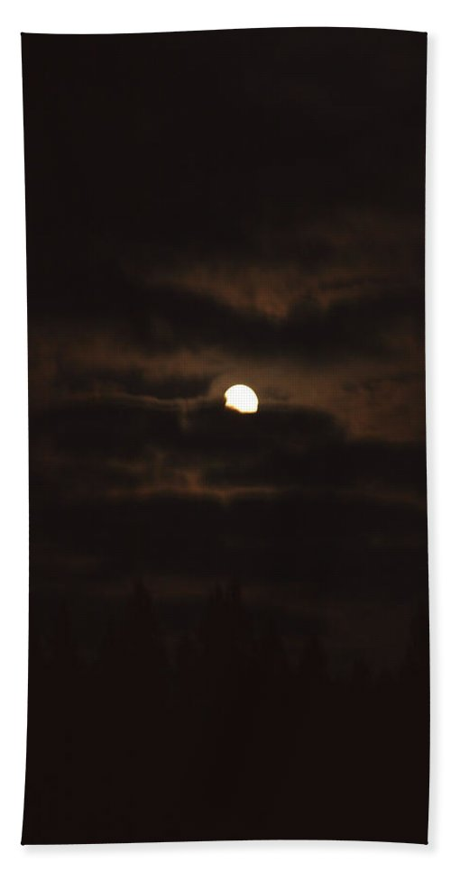 Moon Clouds Night Evening Light Cloudy Sky Trees Moonlight Moonlit Hand Towel featuring the photograph Dark Night by Andrea Lawrence