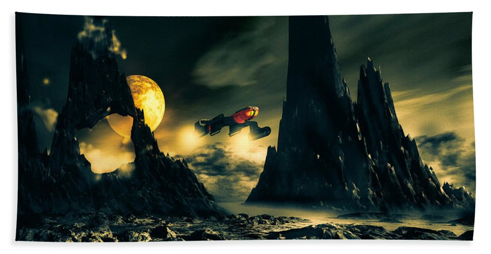 Science Fiction Bath Sheet featuring the mixed media Dark Planet by Bob Orsillo