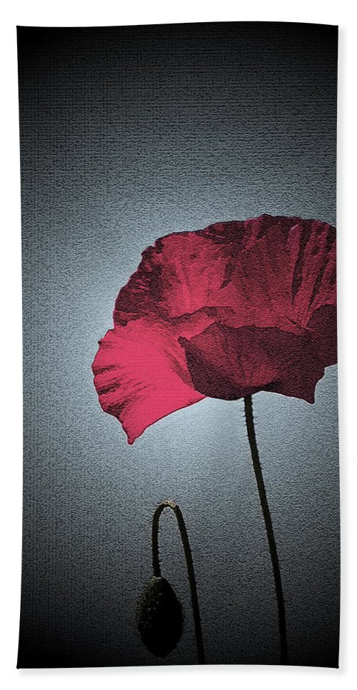 Poppy Hand Towel featuring the photograph Dark Remembrance by Bel Menpes