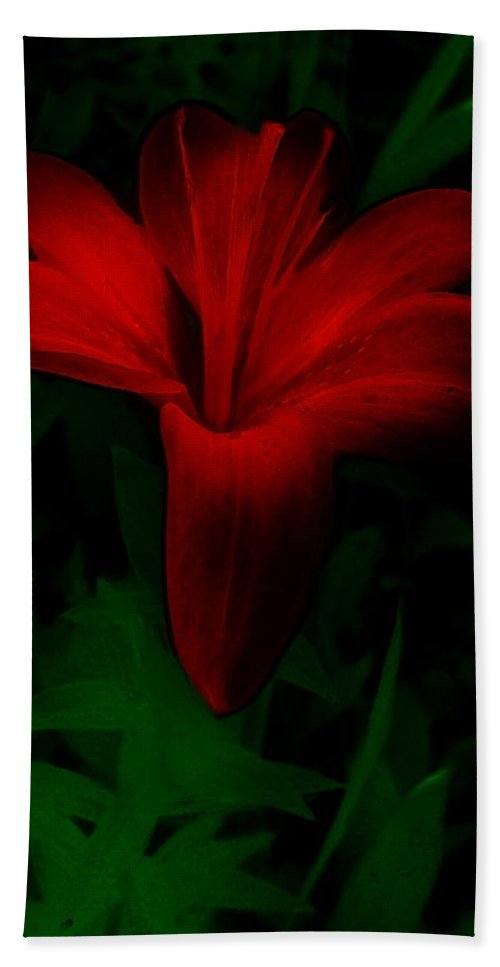 Lily Hand Towel featuring the painting Dark Star by RC DeWinter