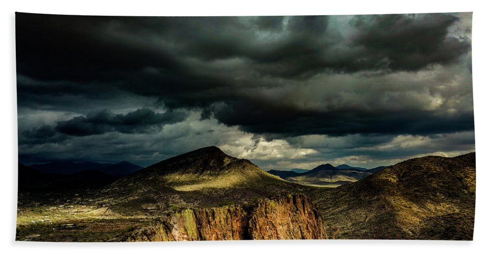 Drone Photography Hand Towel featuring the photograph Dark Storm Clouds Over Cliffs by David Stevens