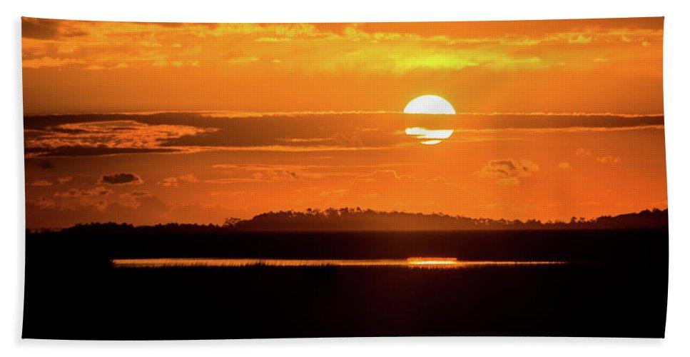 Sun Bath Sheet featuring the photograph Dark Sunrise by Paula OMalley
