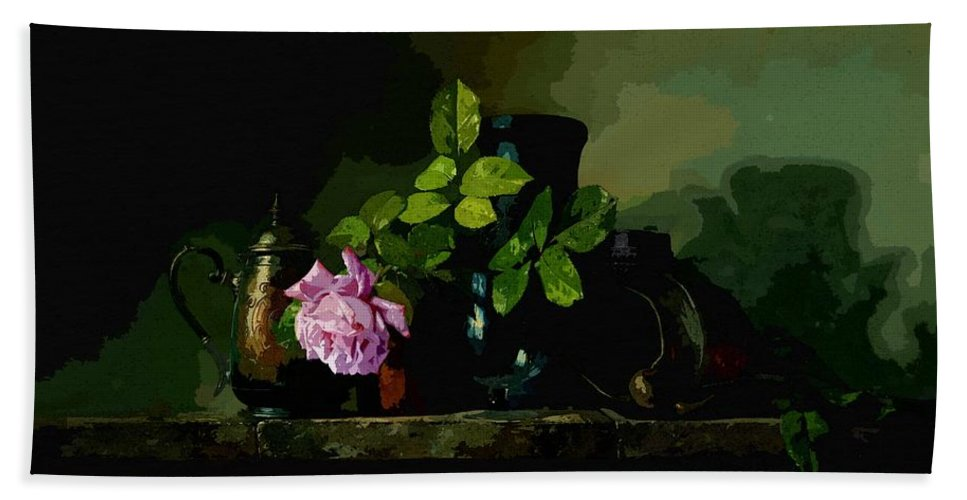 Art Bath Sheet featuring the painting Dark Vases by MJ Arts Collection