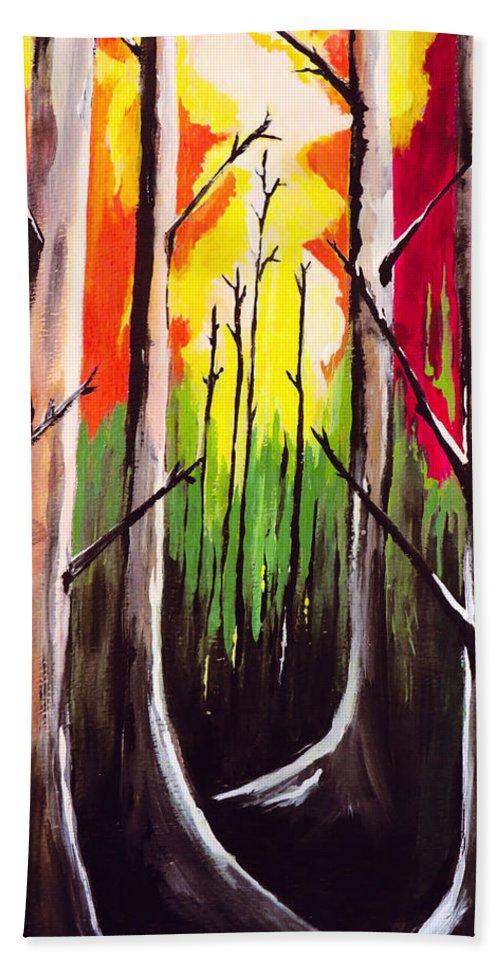 Landscape Art Bath Sheet featuring the painting Dark Woods by Kathleen Sartoris