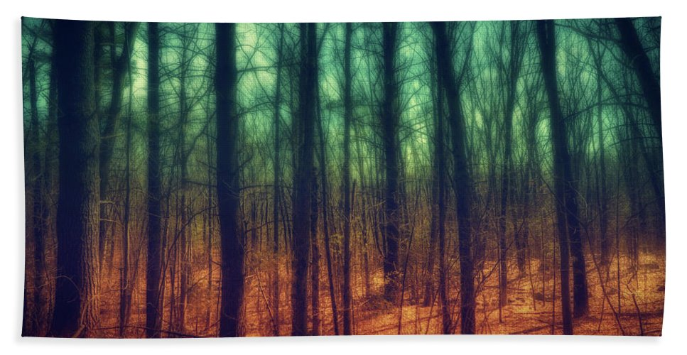 Woods Hand Towel featuring the photograph Dark Woods by Lilia D