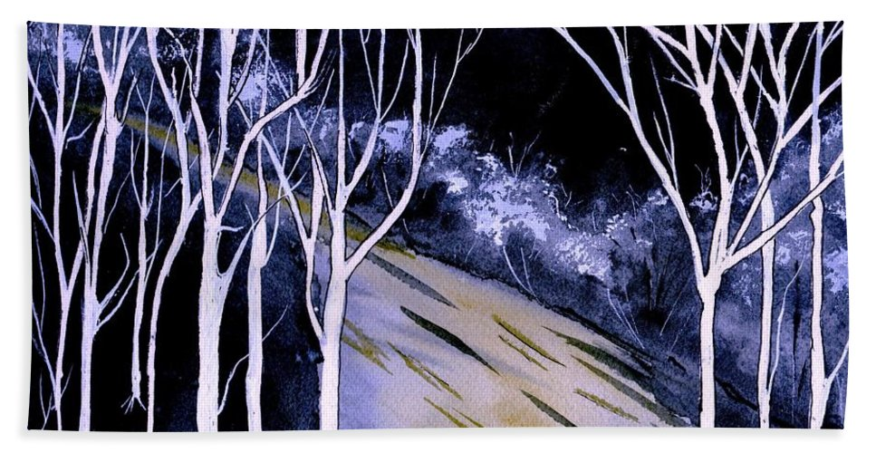 Watercolor Hand Towel featuring the painting Darkness by Brenda Owen
