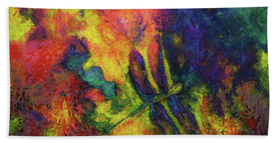 Dragonfly Hand Towel featuring the painting Darling Darker Dragonfly by Claire Bull