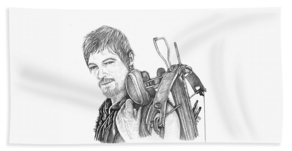 The Walking Dead Bath Sheet featuring the drawing Daryl by Jennifer Campbell Brewer