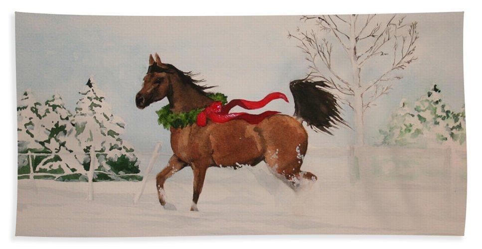 Horse Bath Towel featuring the painting Dashing Thru The Snow by Jean Blackmer