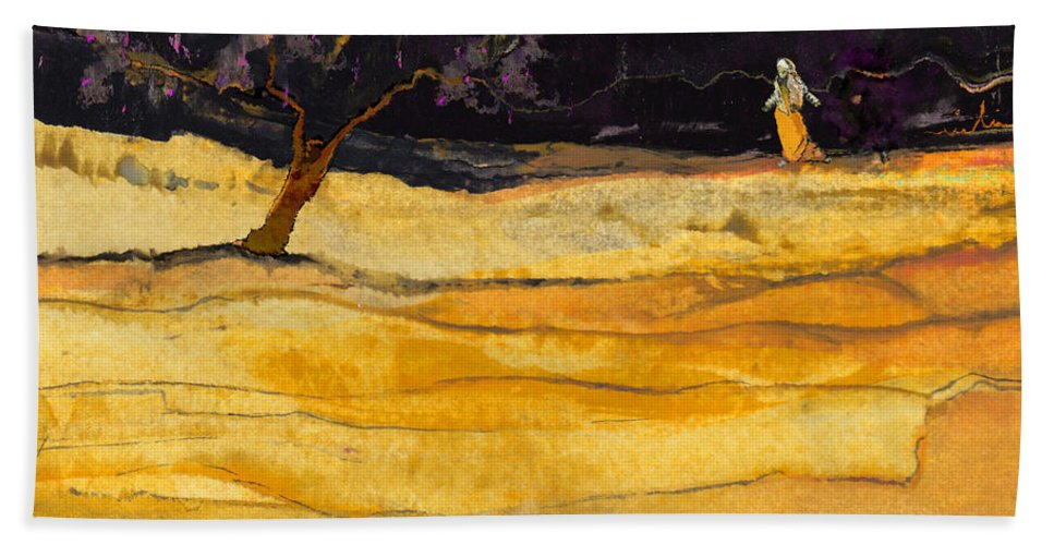 Landscape Hand Towel featuring the painting Date In The Night by Miki De Goodaboom