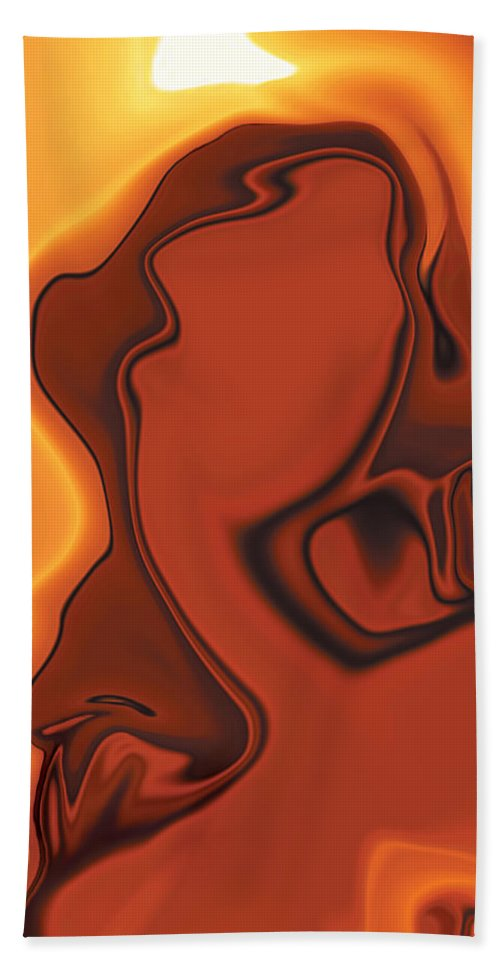 Abuse Adverse Art Beauty Brown Copper Digital Girl Golden Human Orange Red Right Venus Violence Wall Bath Towel featuring the digital art Daughter Of Venus by Rabi Khan