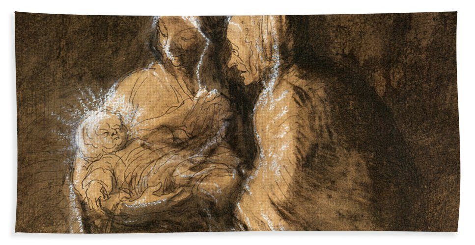 1850 Hand Towel featuring the photograph Daumier: Virgin & Child by Granger