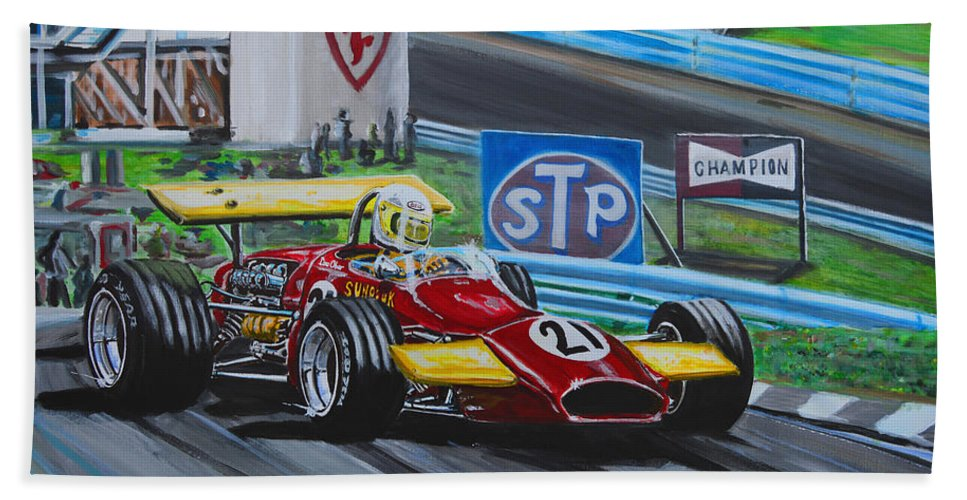 Ferrari Bath Sheet featuring the painting Dave Flying On The Glen by Juan Mendez