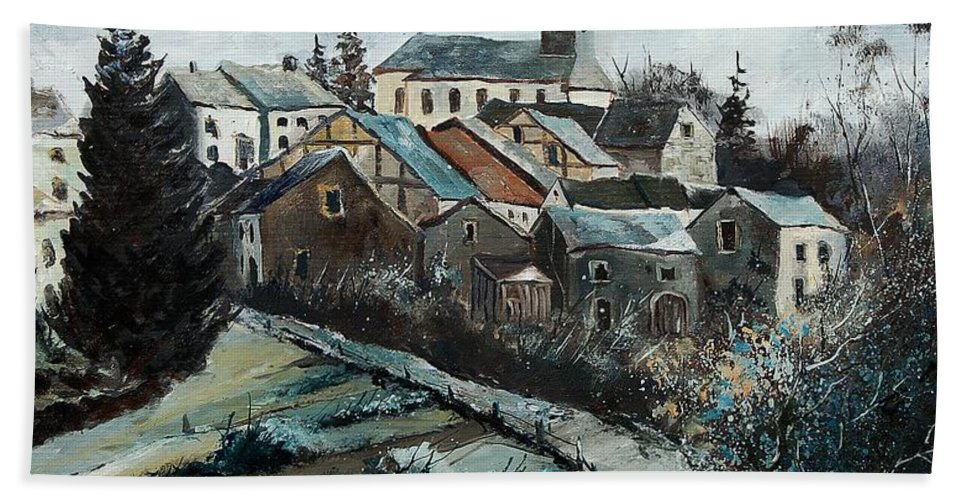 Village Hand Towel featuring the painting Daverdisse 78 by Pol Ledent