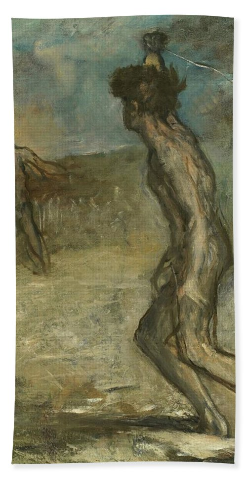 Edgar Degas Bath Sheet featuring the painting David And Goliath by Edgar Degas