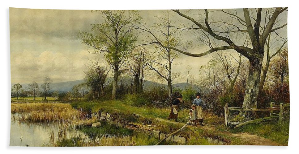 David Bates England Bullrushes Spring Bath Sheet featuring the painting David Bates England by MotionAge Designs