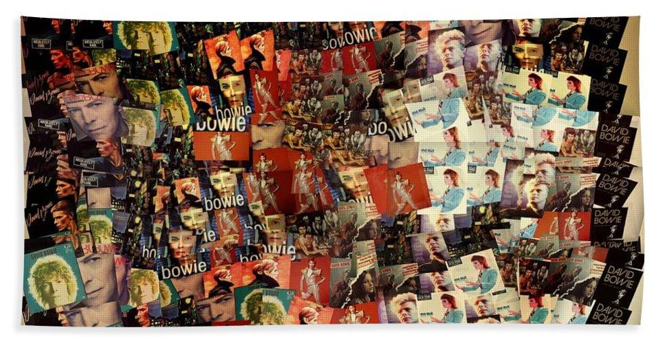 David Bowie Collage Mosaic Bath Towel featuring the mixed media David Bowie Collage Mosaic by Dan Sproul