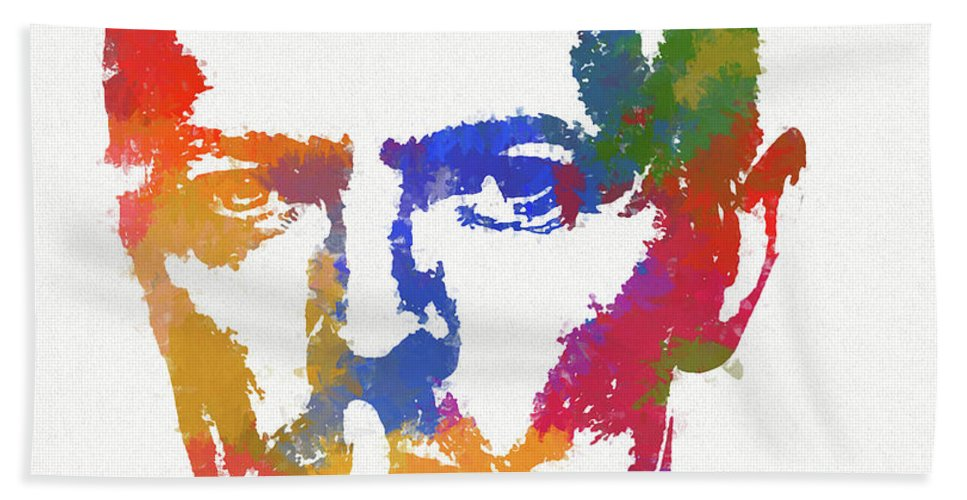 Bowie Reflection Bath Towel featuring the painting David Bowie by Dan Sproul