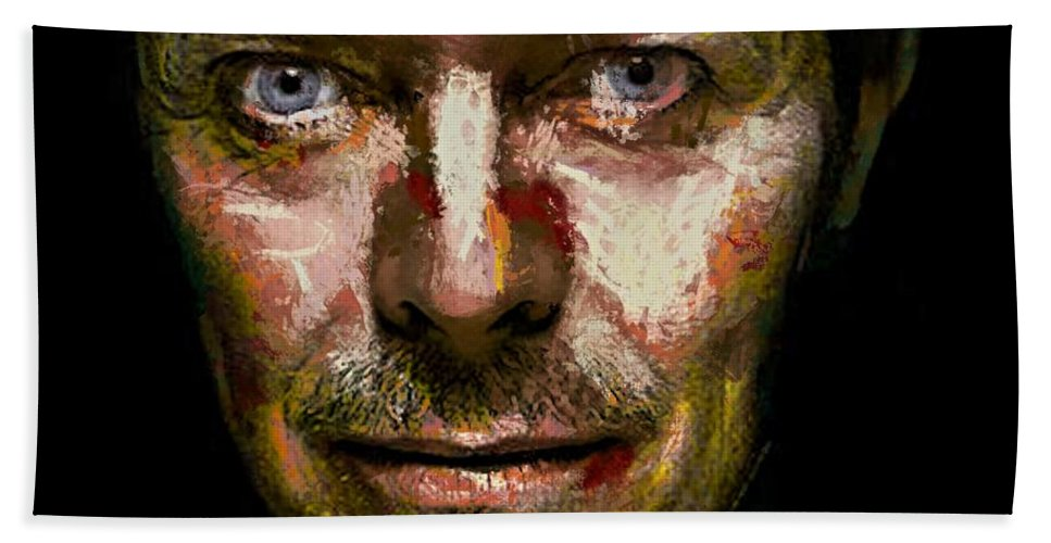 Portraits Hand Towel featuring the digital art David Bowie by Dragica Micki Fortuna