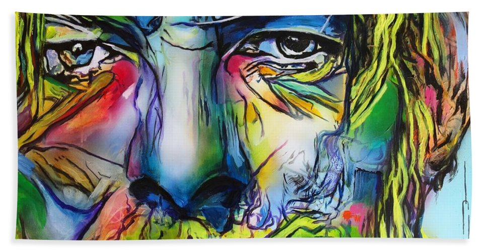 David Bowie Bath Towel featuring the painting David Bowie by Eric Dee