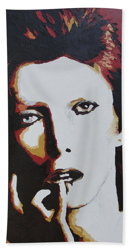 David Bowie Hand Towel featuring the painting David Bowie by Ricklene Wren