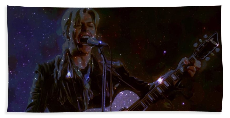 David Bowie Hand Towel featuring the digital art David Bowie Space Oddity by Scott Wallace Digital Designs