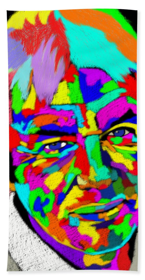 David Icke Hand Towel featuring the painting David Icke Portrait by Stephen Humphries