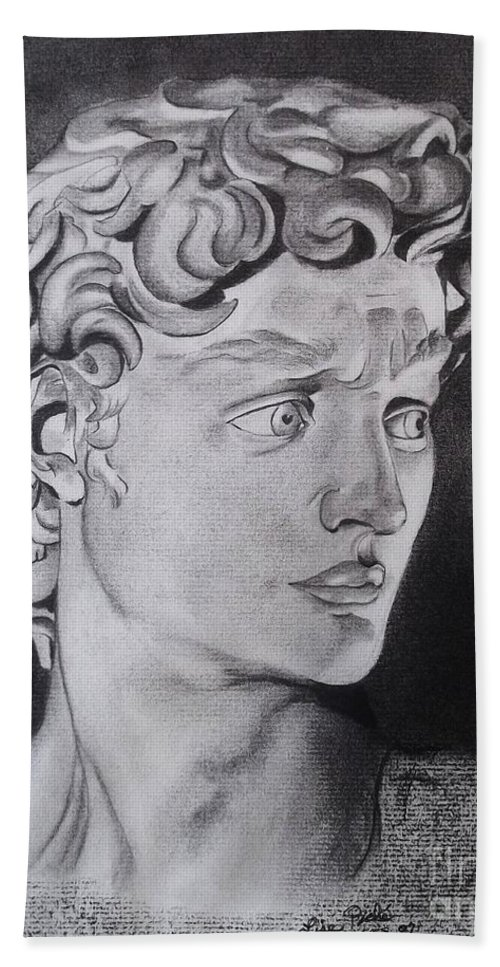 Statue Of David By Michaelangelo Hand Towel featuring the drawing David In Pencil by Lise PICHE