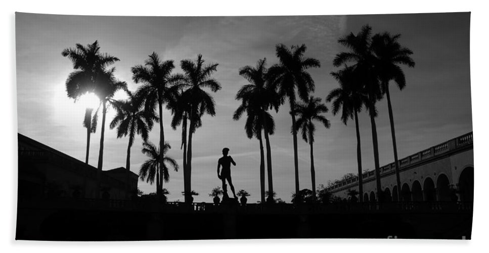 David Bath Sheet featuring the photograph David With Palms by David Lee Thompson
