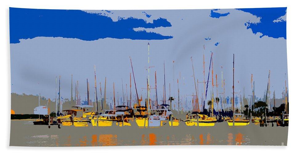 Davis Island Florida Bath Sheet featuring the painting Davis Island Yachts by David Lee Thompson