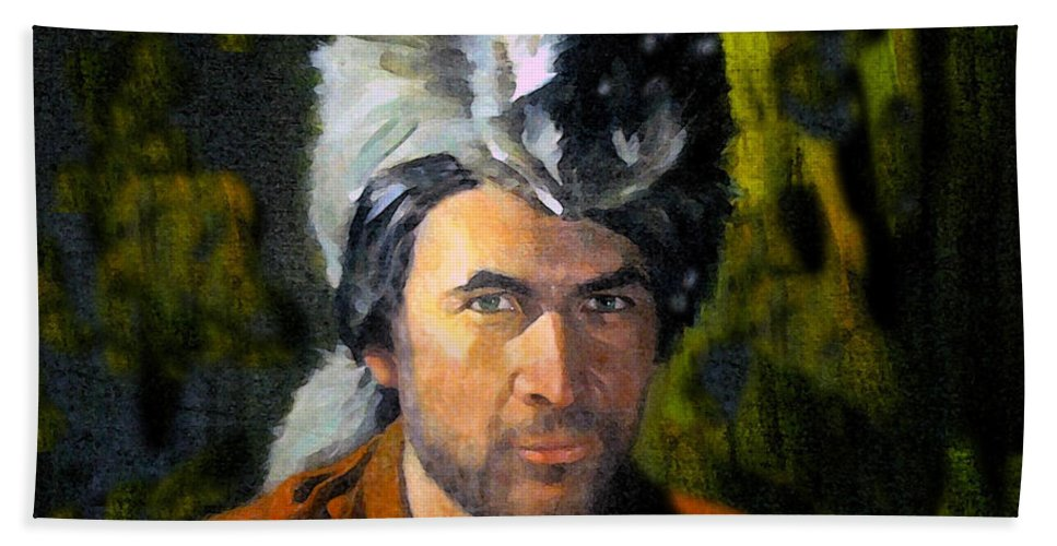Davy Crockett Hand Towel featuring the painting Davy Crockett by David Lee Thompson