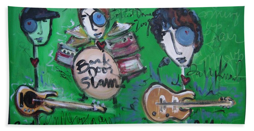 Davy Knowles Hand Towel featuring the painting Davy Knowles And Back Door Slam by Laurie Maves ART