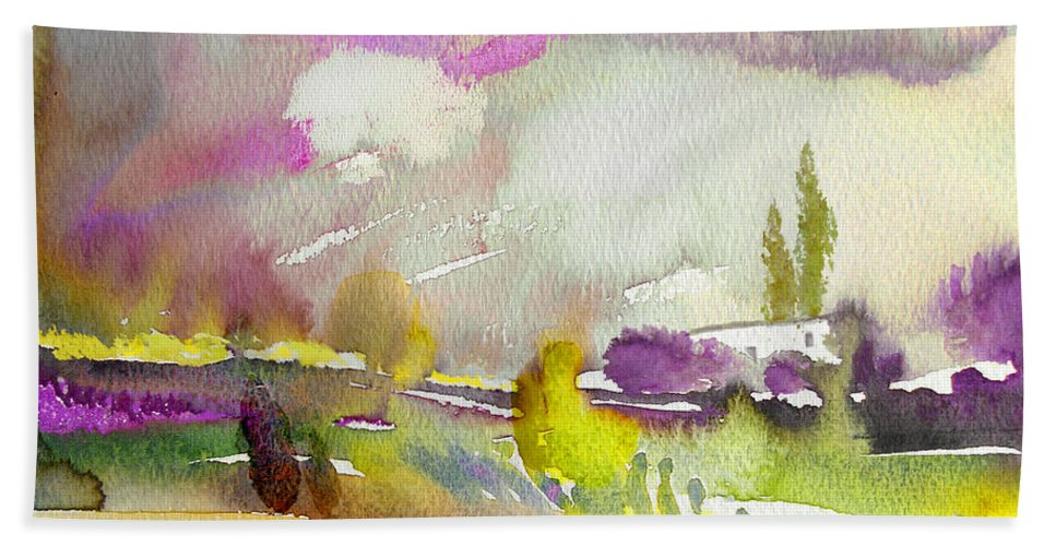 Watercolour Hand Towel featuring the painting Dawn 03 by Miki De Goodaboom