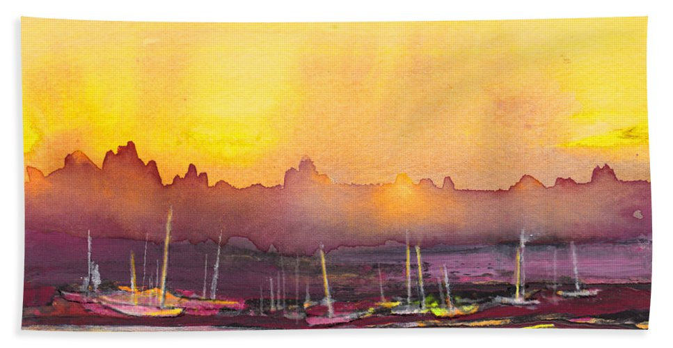 Landscapes Hand Towel featuring the painting Dawn 10 by Miki De Goodaboom