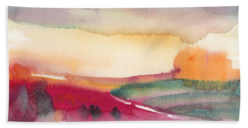 Watercolour Bath Sheet featuring the painting Dawn 12 by Miki De Goodaboom