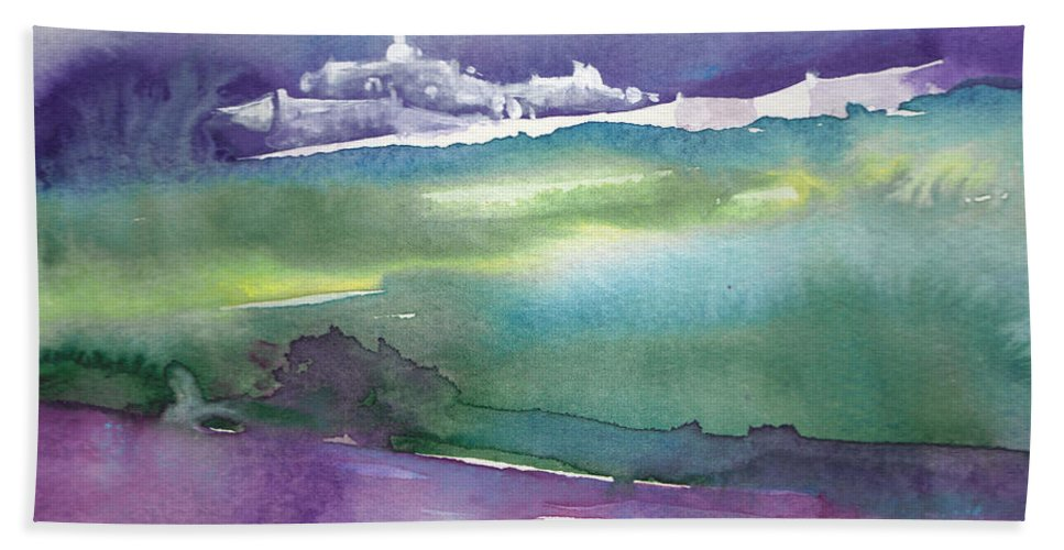 Landscapes Hand Towel featuring the painting Dawn 14 by Miki De Goodaboom