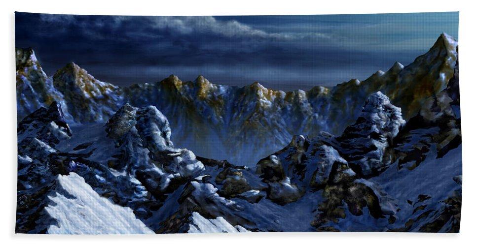 Digital Landscape Hand Towel featuring the digital art Dawn At Eagle's Peak by Curtiss Shaffer