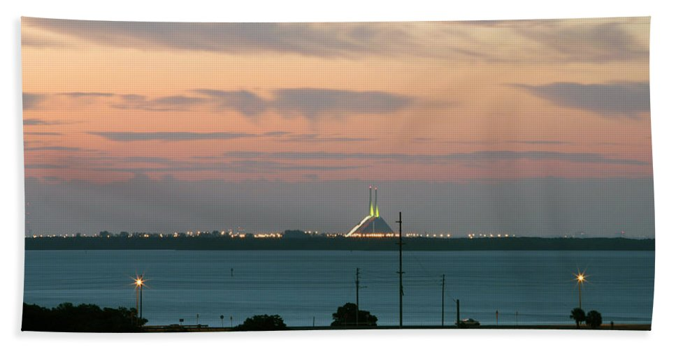 Sunshine Hand Towel featuring the photograph Dawn At The Sunshine Skyway Bridge Viewed From Tierra Verde Florida by Mal Bray