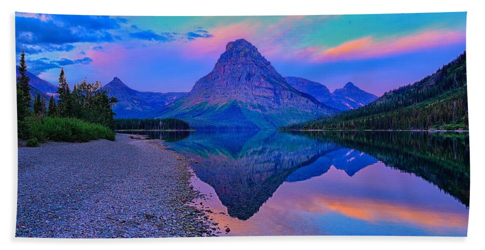 Two Medicine Hand Towel featuring the photograph Dawn At Two Medicine Lake by Greg Norrell