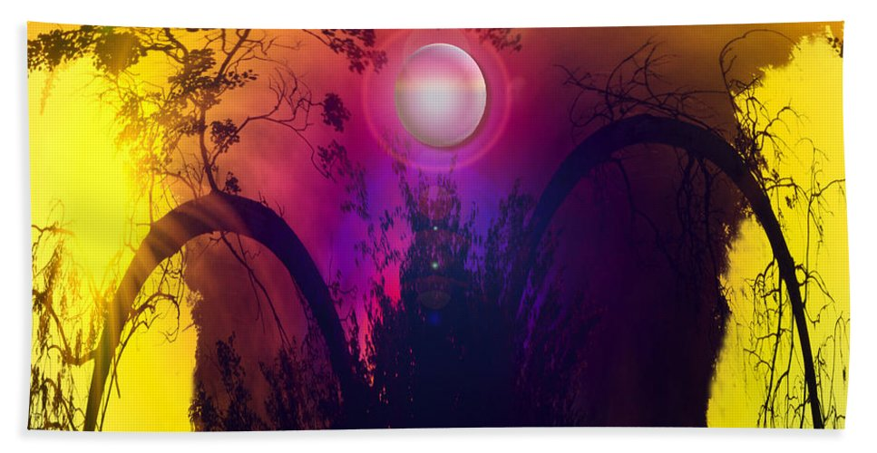 Trees Sky Stars Sun Planet Orb Space Moon Bath Sheet featuring the photograph Dawn In A New Era by Andrea Lawrence