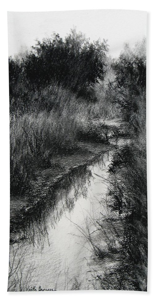 Charcoal Bath Sheet featuring the drawing Dawn Marsh by Keith Burgess